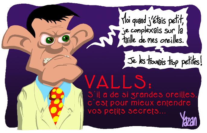 caricature emmanuel valls - loi sur le renseignement et grandes oreilles